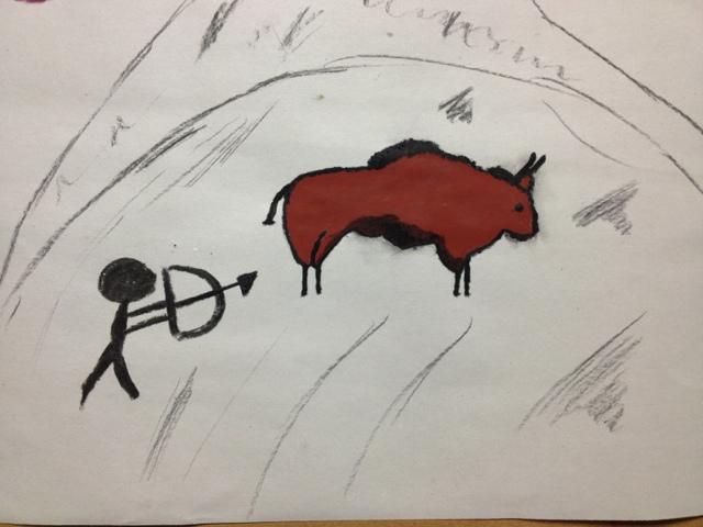 Nuestros dibujos prehistóricos con acrílicos
