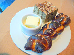 Gruner, alpine food, bread plate, rye loaf and pretzel bread, Portland restaurant