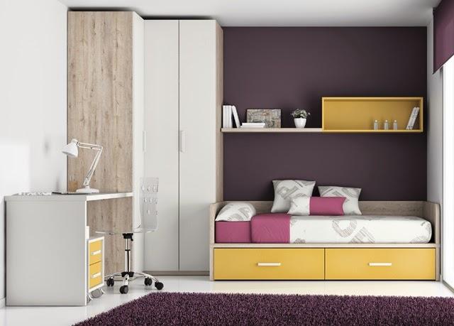 este dormitorio juvenil con una distribucin muy comn compuesta por cama nido con cajones abajoencima de la cama una de rincn y mesa