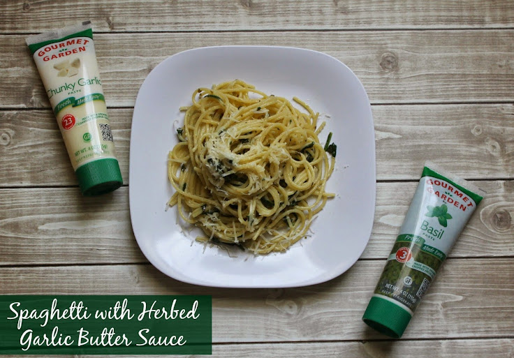 Spaghetti with Herbed Garlic Butter Sauce #15MinuteSuppers