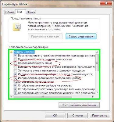 Используем флажки для выделения папок и файлов