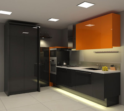 orange black kitchen 582x520 Tren Warna 2012: Oranye