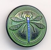 Green and Black Patina Glass Dragonfly Button from bello modo