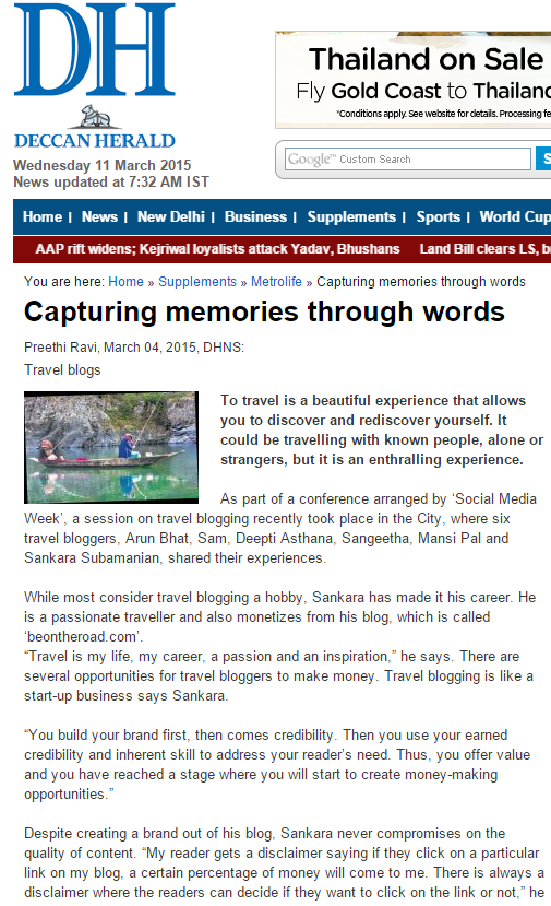 I have been mentioned in Deccan Herald Newspaper