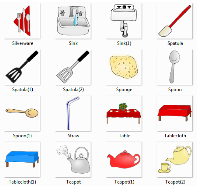 delightful Kitchen Appliances Names #1: Silverware, Sink, Spatula, Sponge, Spoon, Straw, Table, Tablecloth, Teapot