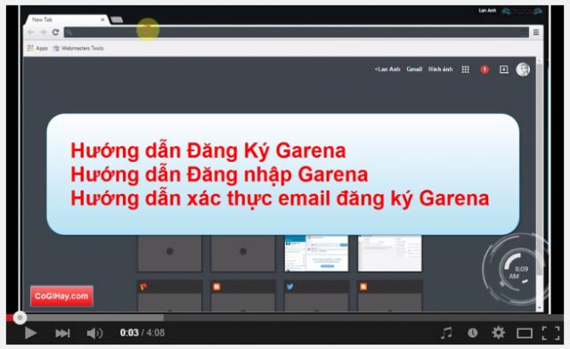 video đăng ký garena