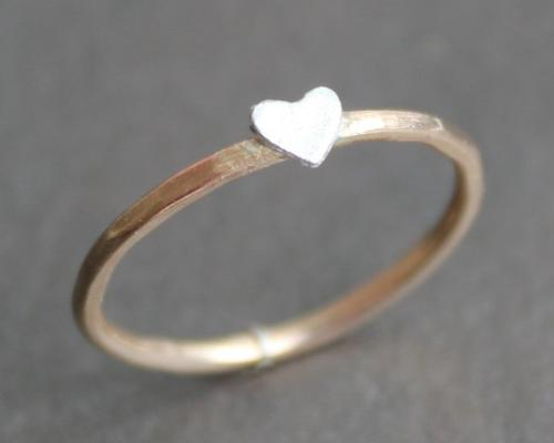 Heart Ring 14 K Gold Filled Band with Silver Heart [SOURCE]