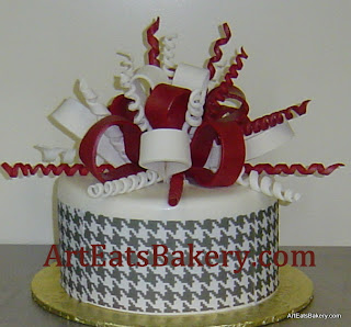 Black and white houndstooth print custom fondant unique birthday cake with red and white sugar bow picture