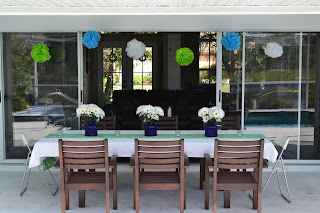 The outside decor for this birthday party is flower themed and so cute.