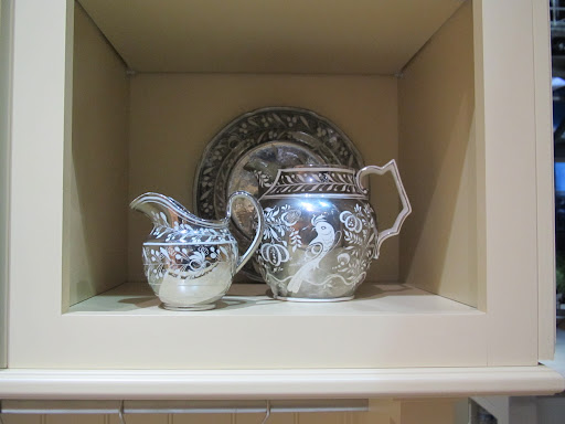Beautiful pieces in the kitchen cubbies.