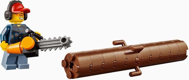 Mô tả sinh động quá trình khai thác gỗ trong bộ xếp hình Lego 60059 Logging Truck