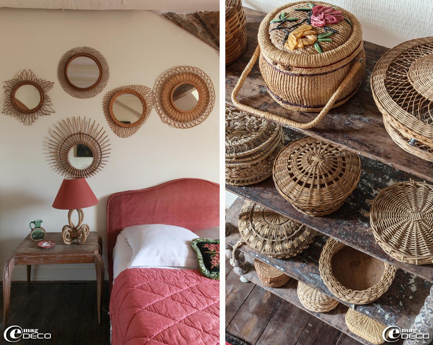 Dans une chambre de la maison d'hôtes L'Hôtel des Tailles, collection de miroirs en rotin et de boîtes en osier