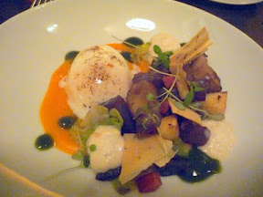 Tabla Bistro, Sous Vide Egg with sunchokes, speck, watercress coulis, chanterelle cream