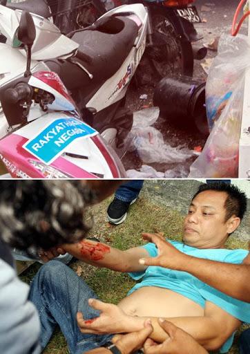 BEKAS letupan bom buatan sendiri yang mencederakan seorang mangsa di persimpangan lampu isyarat di Jln Duta.