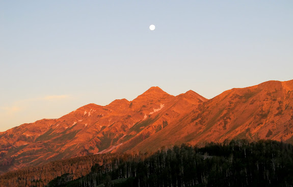 Moon over Mt. Nebo at sunrise
