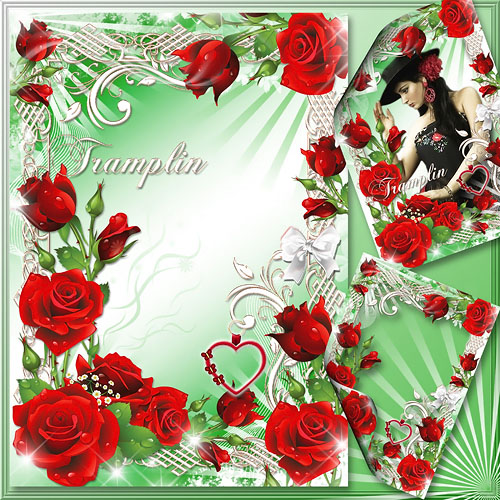 Рамка для фото с розами  – Капли росы на ее лепестках