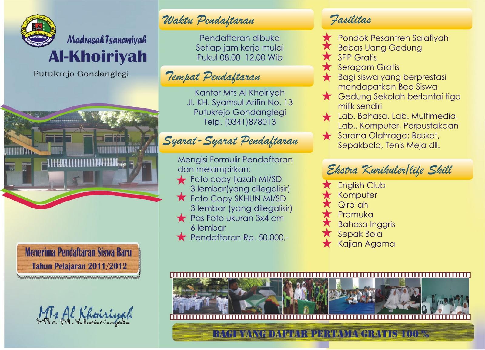 Visi Dan Misi Mts Al Khoiriyah Beserta Brosur Pendaftaran Siswa Baru
