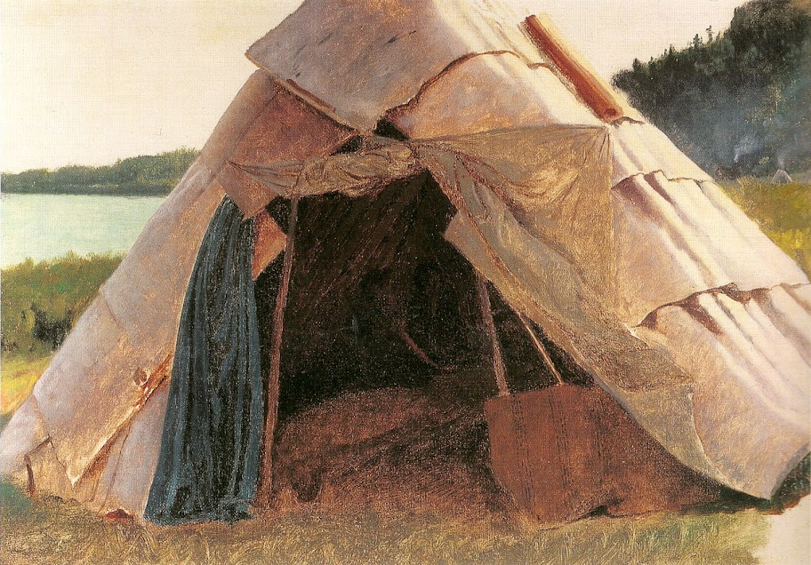 Eastman Johnson - Ojibwe Wigwam at Grand Portage.