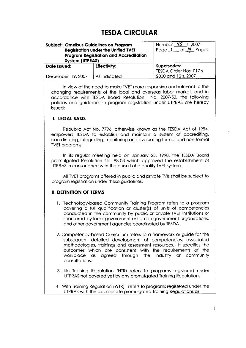 Moaptbet Institutions Inc Tesda Circular No 45 S 2007 Omnibus