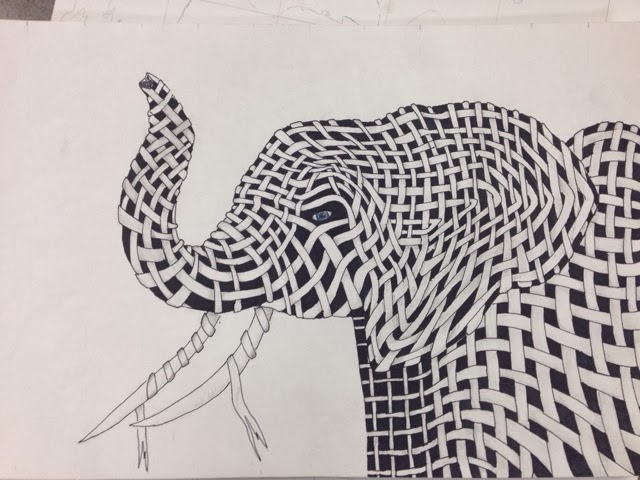 Contour Line Drawing Elephant : Sammie jo art woven animal drawing elephant