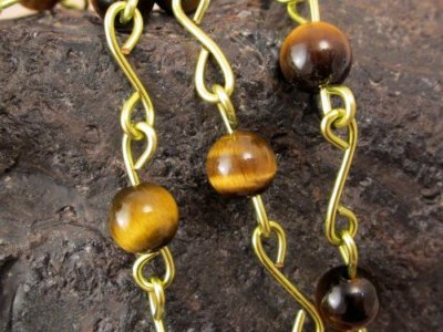 Psuedo Double Strand Tiger's Eye Necklace and Peridot Parawire by Entwined Vines