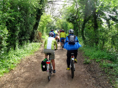 rear view of group cycling on disused railway