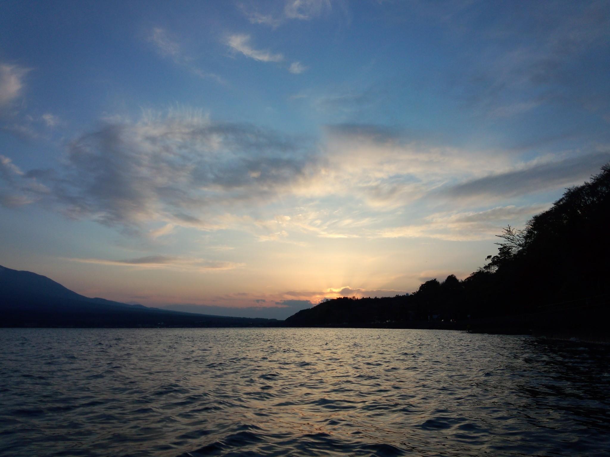 バスフィッシング 山中湖の日没