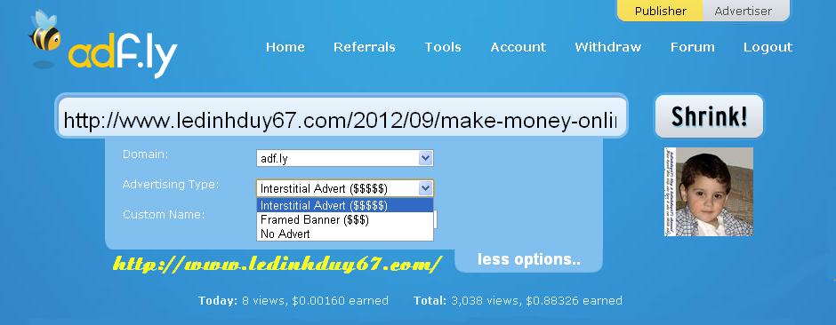 adf6 Kiếm tiền từ rút gọn link với Adf.ly