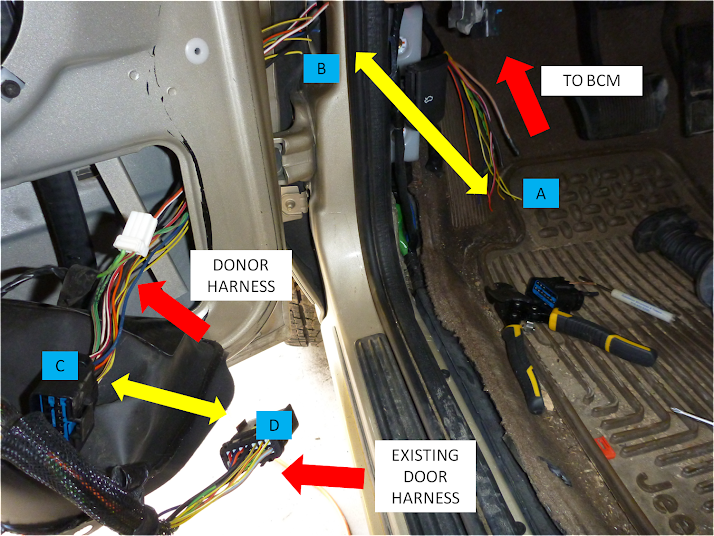 1999 2004 wj driver door boot wiring fix diy jeepforum com start stripping the wiring inside the cab and one end of the wiring from the donor harness then use the heat gun and the ergrip connectors to connect