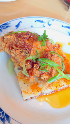 Their take on Chicken and Waffle (gluten free) with yeast rice cake and Boke fried chicken at the Boke Bowl dim sum at Boke Bowl West, only on Sat and Sun 11 - 2