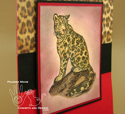 Close up picture of image of red leopard card set at an angle