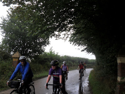 Group on quiet lane