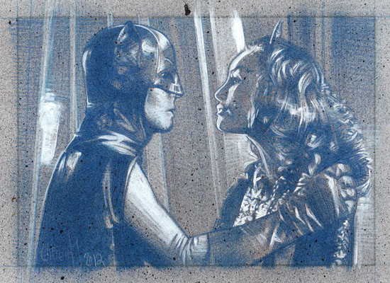 Adam West & Julie Newmar , Batman & Catwoman(Pencil study) ACEO Sketch Card by Jeff Lafferty