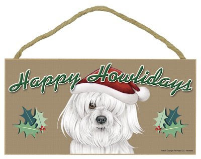 Happy Howlidays Wooden Sign - Havanese