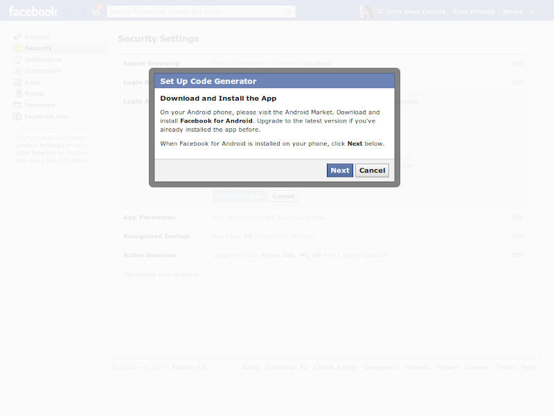 Activate Facebook's Two-Factor Authentication – Laboratory