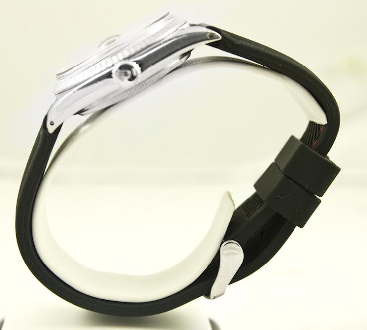 Rolex Mens Datejust Custom Black Rubber Band Black Stick Dial & White