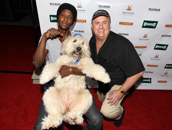 Edi Gathegi and Alan Siskind and a dog