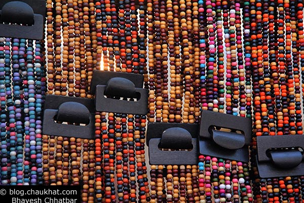 Bead necklaces on sale in the market of fort area of Mumbai during Kala Ghoda Festival near Jehangir Art Gallery