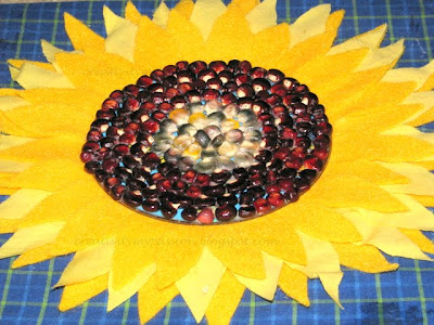 Variegated corn kernels sunflower art
