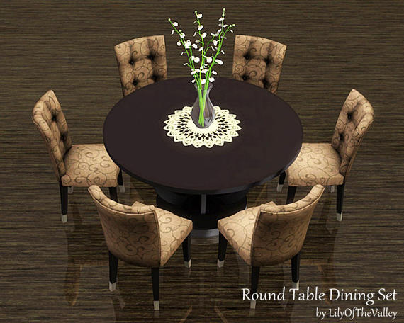 Set Of 3 Wooden Tables: My Sims 3 Blog: LilyOfTheValley's Round Table Dining Set