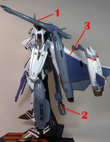 Macross Frontier VF-25F Messiah Tornado pack Armament weapon position