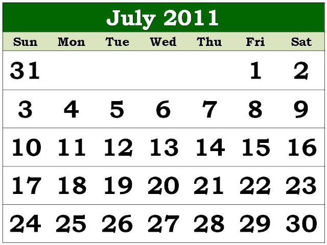 printable july calendar 2011. Calendar for July 2011