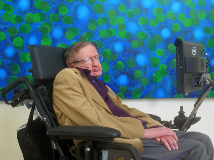 World Renowned Physicist Stephen Hawking With Universe Infinity Painting At Victor Angelo Art Space