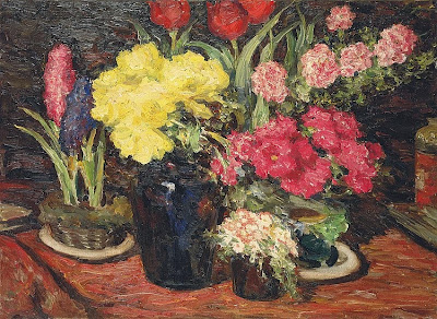 Leonid Pasternak - Still life with hyacinths, tulips, hollyhocks and peonies