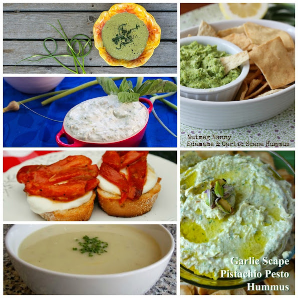 collage of 6 images of appetizer recipes using garlic scapes, part of the garlic scape recipe round up
