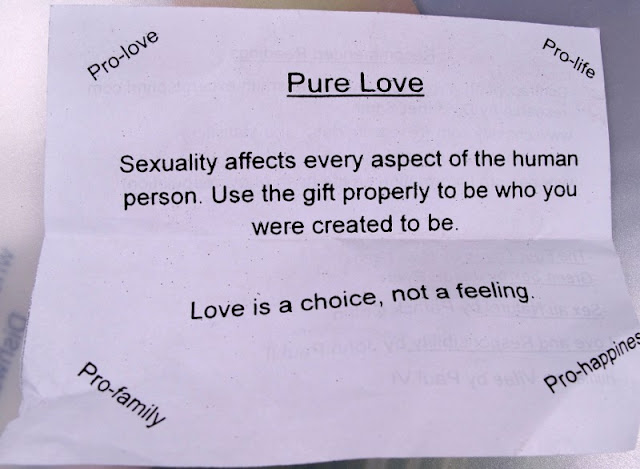 Pure Love leaflet handed out on campus