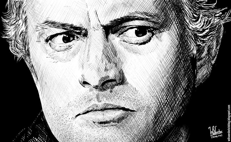 Ink drawing of José Mourinho, using Krita 2.4.