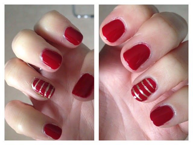 Red, gold, stripy nails, manicure