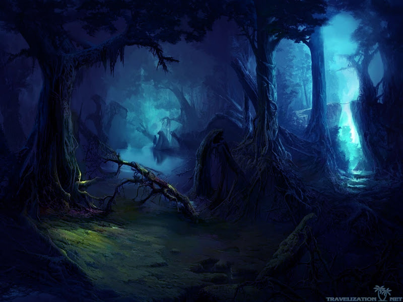 The Spirit Wanders The Woods In The Dark Magic Forest Girl Tree ...
