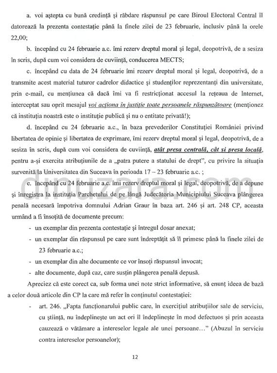 Contestaţia depusă de prorectorul Aurel Burciu împotriva rezultatelor alegerilor pentru funcţia de rector al USV